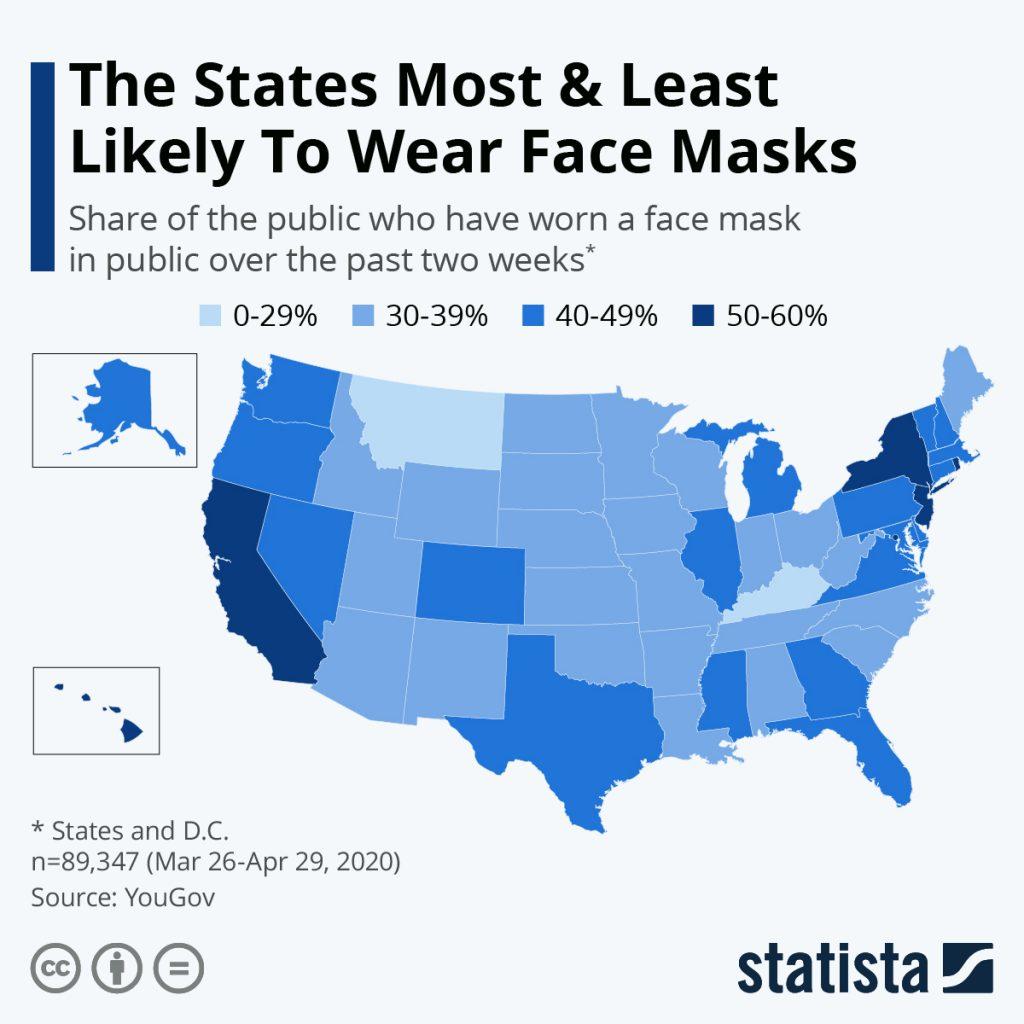 States that wear COVID-19 Masks  @kiscocap www.kiscocap.com